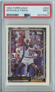 Shaquille O'Neal 1992 93 Topps gold #362 Orlando Magic RC rookie Mint PSA 9