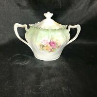 Vintage Porcelain RS PRUSSIA Green Floral Translucent Covered Sugar Bowl