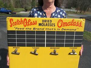 VINTAGE ORIGINAL SCOTCH OLASS - OMALASS DRIED MOLASSES FEED SIGN DES MOINES IOWA