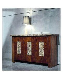 Marble sideboard new Genuine Marble Top Dark wood finish 141cm
