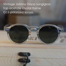 Vintage round polarized sunglasses Johnny Depp eyeglass mens crystal G15 lens