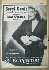 Beryl Davis 1947 Ad-I Want To Be Loved/If My Heart Had A Window  RCA Victor