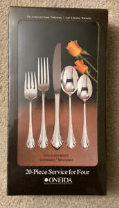 Oneida Community Silverplate ENCHANTMENT 1985 20 Piece Service FACTORY SEALED!