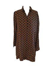 Ladies Black Mix MONKI VISCOSE BUTTON UP TUNIC/DRESS SIZE 10