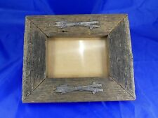 Ski Picture Frame Rustic Distressed wood  8 x 7 frame Stand alone or Wall hung