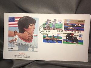 OLYMPICS 1980 FLEETWOOD FIRST DAY COVERS ARCHERY, SWIMMING, EQUESTRIAN, TRACK