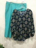 Ann Taylor Womens Size XL 16 / 18 Blouse Top V Neck Navy Peach Aqua Beige Sleeve