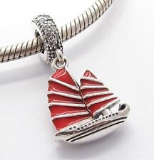 SHIP with RED SAILS CHARM Bead Sterling Silver.925 for European Bracelet  584