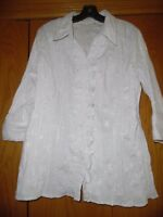St. John's Bay White Embroidered Floral  3/4 Sleeve Rufle Shirt Top Blouse Sz 1X
