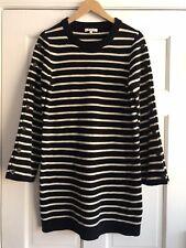 N21 Madewell Merino Wool Striped Sweater Dress Button Sleeves Womens Medium