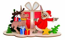 Bastelset Teelichthalter Weihnachtsmann mit Elch Erzgebirge
