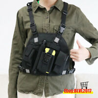 Reflective Chest Harness Chest Pack Pouch Holster Vest Rig for Motorola Radio