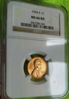 1954 S LINCOLN CENT GRADED NGC MS 66 RD!!