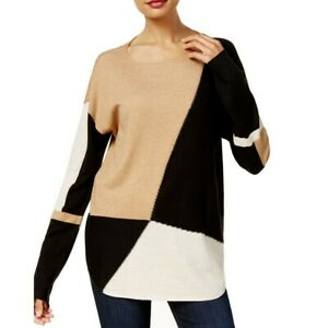 INC NEW Women's Colorblocked Long Sleeve Boat Neck Sweater Top TEDO