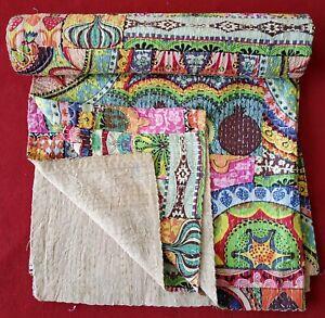 Indian Handmade Kantha Quilt Multi Print Bedspread Throw Cotton Blanket Gudari