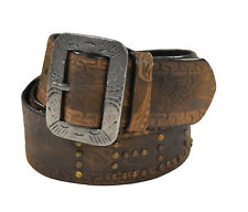 Ralph Lauren RRL Distressed Brown Leather Telluride Stud Belt 40 New $295