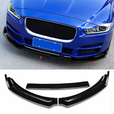 2017-2018 For Jaguar XE ABS Gloss Black Front Bumper Lip Spoiler Cover Trim 3pcs