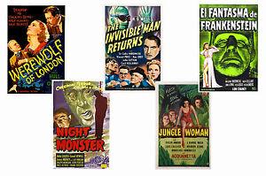 UNIVERSAL HORROR - SET OF 5 - A4 FILM POSTER PRINTS # 2