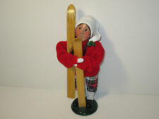 Byers Choice Retired 1995 Girl with Red Knit Sweater Plaid Knickers with Skis