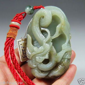 Vintage Natural Hetian Nephrite Jade Dragon Carving
