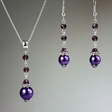 Purple crystals pearls necklace earrings wedding bridesmaid silver jewellery set