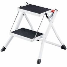 2 Step Stool Folding Non-slip Safe Mat Tread Iron Plastic White Black Kitchen