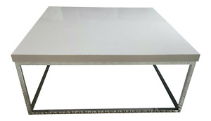 White Lacquer And Chrome Coffee Table With Tempered Glass Bottom Shelf