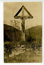 Rustic Wooden Crucifix RPPC-Size Antique German AK Photo Deutsche Cross 1910s