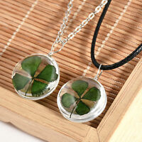 Real Green Lucky Shamrock Four Leaf Clover Round Glass Pendant Necklace Jewelry