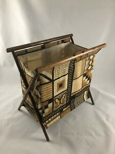 Vintage Knitting Crochet Basket Stand-up Folding Wood Frame with Carrying Handle