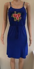 NEW Atmosphere Cobalt Blue Floral Embroidered Strappy Dress Size 8