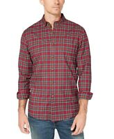 Club Room Mens Shirt Red Green Size Small S Button Down Holiday Tartan $55 244
