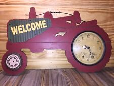 Red Tractor Wood Wall Clock Welcome W/ Thermometer and Hygrometer