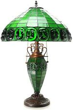 Tiffany Style Stained Glass Table Lamp Desk GREEN Mission Craftsman Victorian