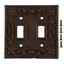 Double Light Switch Plate Cover Cast Iron Rustic fleur-de-lis design