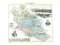 1893 Antique Map of Vaucluse Avignon France French Old Regional Hand Coloured