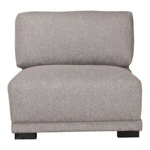 """41"""" W Grey Sectional Slipper Chair Polyester and Cotton Minimal Small Simple"""