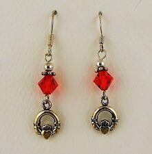 Sterling silver Irish Claddagh Earrings w/ Red Siam Swarovski Crystal beads