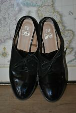 F&F BLACK PATENT FAUX LEATHER OXFORD SHOES SIZE UK 7 EU 41