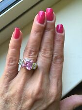 "NEW ""designer inspired"" Square Pink CZ Ring w.Vintage 2 Tone Pave Detail Size 7"