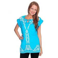 NEW - OSO Casuals Woven Cuffed Cap Sleeve Embroidered Hi-Lo Tunic - SZ. 1X