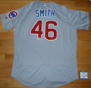 BECKETT LEE SMITH 6 INSCRIPTIONS CHICAGO CUBS MAJESTIC AUTHENTIC HOF JERSEY 0600