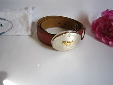 Prada ladies leather belt with oval buckle. Mint. Luxurious. 100% authentic.