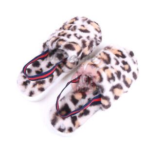 Women's Leopard Furry Fleece Slippers with Strap Open Toe House Indoor Outdoor