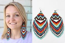 Native American Beaded Earrings, American Indian Beaded Earrings Geometric Aztec