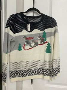 Talbot's Supersoft Sledding Dogs Sweater Size PM NWT