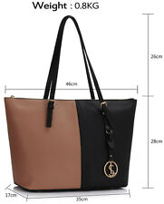 Women's New X Large Shopper Shoulder Handbags Ladies Faux Leather Tote Bags