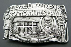 Ellsworth Kanopolis Kansas Cowtown Festival 1985 Western Vintage Belt Buckle
