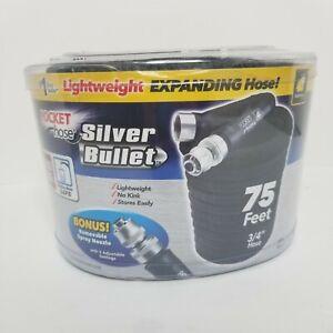 Pocket Hose Silver Bullet As Seen On TV 3/4 75 feet Expanding Black Garden Hose
