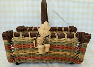 FALL Harvest Autumn Beautiful Open Sided Basket with Wood Leaves Acorn Ornament